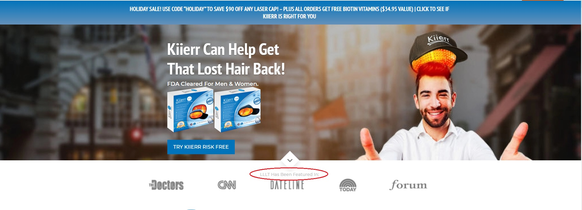 Home Page for Kiierr Laser Caps for Hair Loss