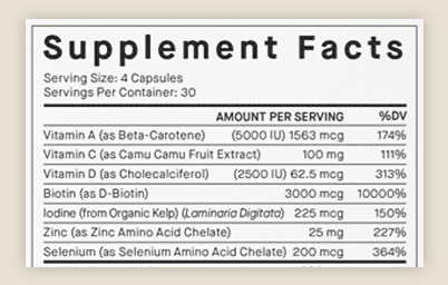 Hair Growth Vitamins - Supplement Facts